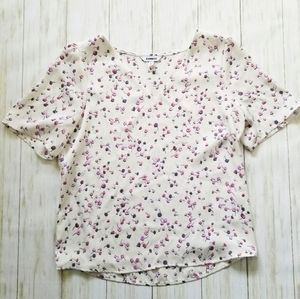 Express white floral v neck short sleeve blouse
